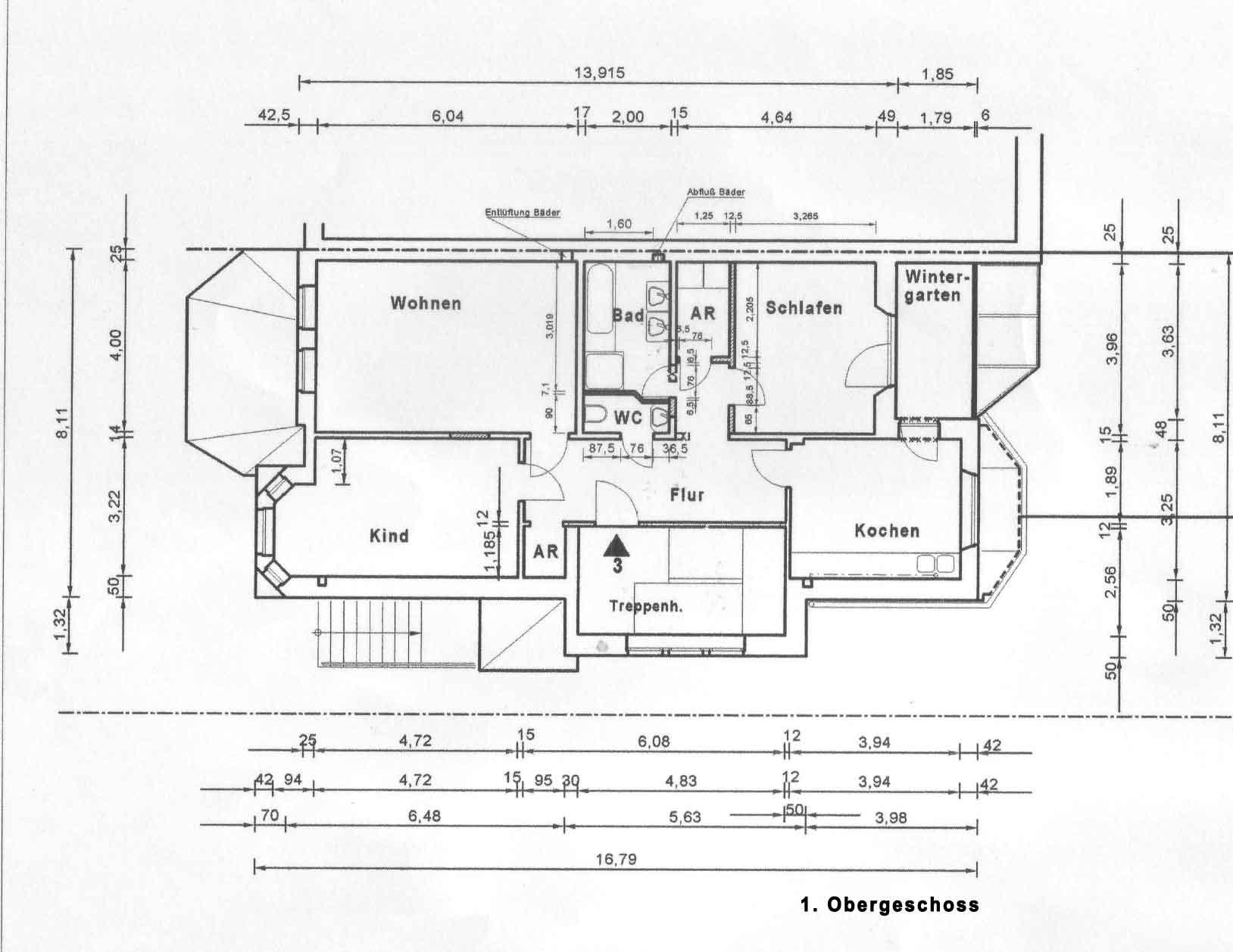 Osterdeich 91, Bremen, Abbildung 1. Obergeschoss