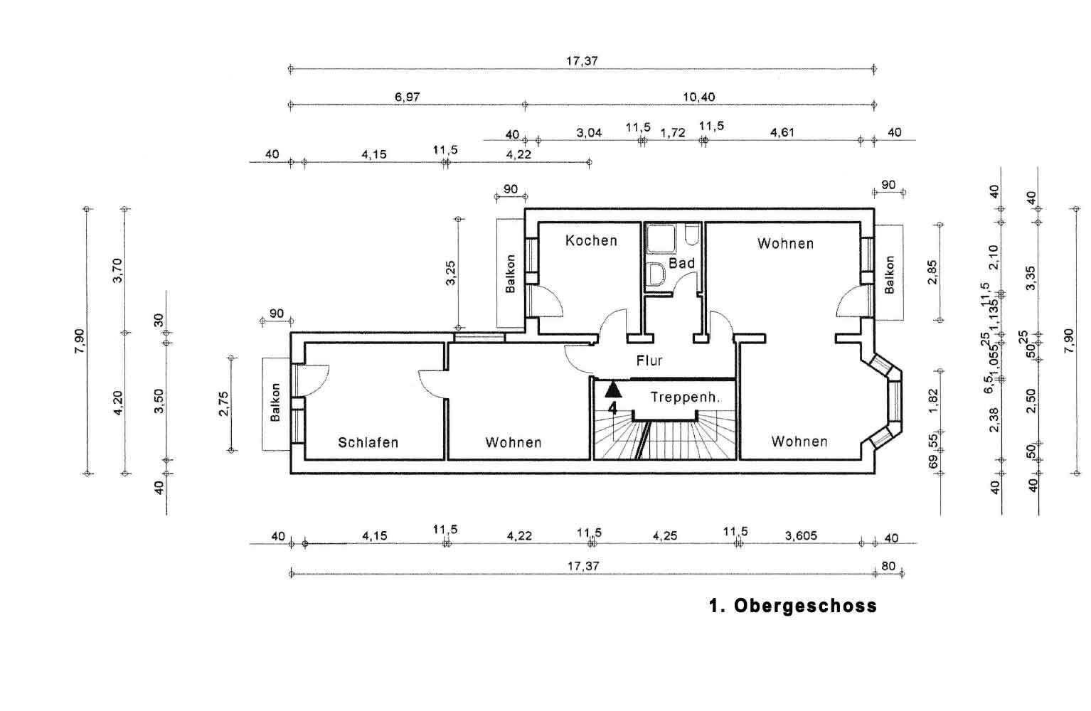 Parkallee 19, Bremen, Abbildung 1. Obergeschoss